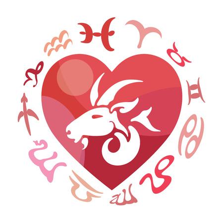 compatibility: Capricorn zodiac sign, vector illustration Illustration