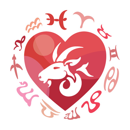 heart sign: Capricorn zodiac sign, vector illustration Illustration