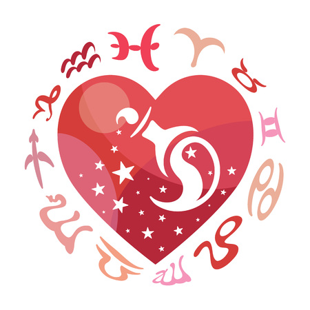 compatibility: Aquarius zodiac sign, vector illustration Illustration