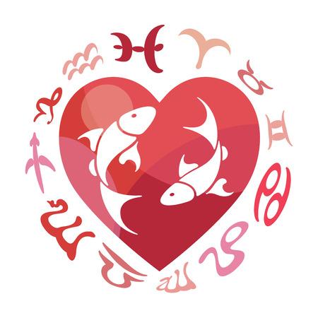 Pisces zodiac sign, vector illustration