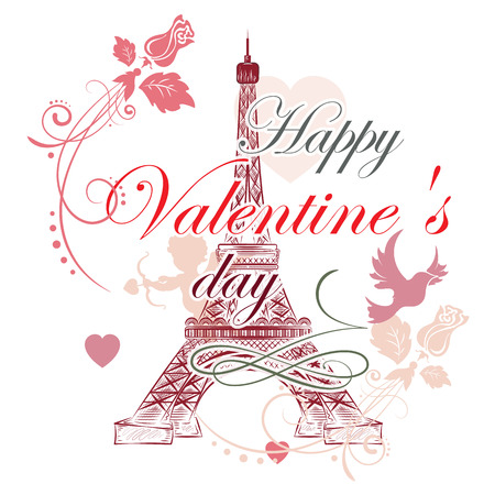 eiffel: Festive romantic background with Eiffel tower, vector illustration Illustration