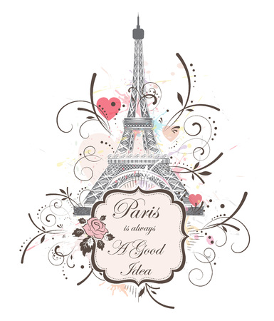 Romantic background with Eiffel tower, vector illustration  イラスト・ベクター素材