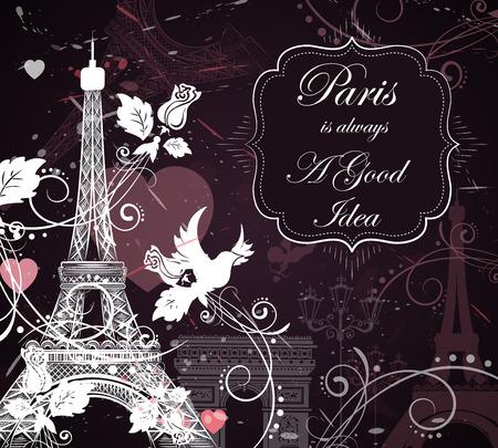 Romantic background with Eiffel tower, vector illustration Illustration