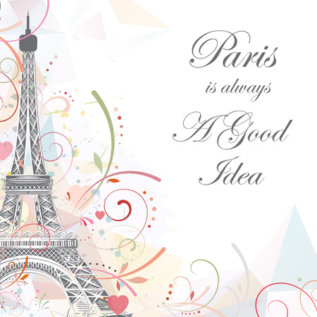 Romantic background with Eiffel tower, vector illustration