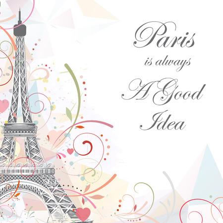 Romantische achtergrond met Eiffel toren, vector illustratie
