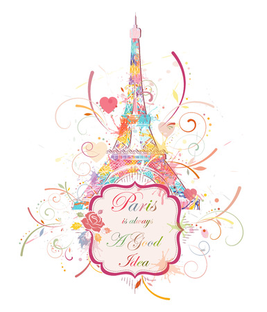 old frame: Romantic background with Eiffel tower, vector illustration Illustration