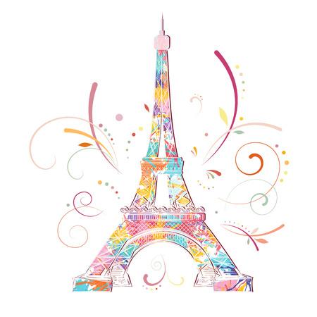 Romantic background with Eiffel tower, vector illustration Ilustração