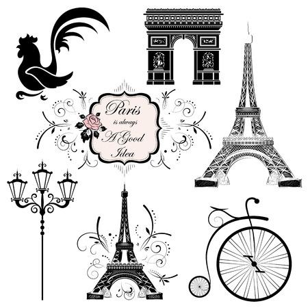 printing house: A set of symbols and landmarks of France, vector illustration Illustration