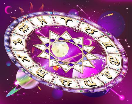 mystique: Zodiac circle in space , vector illustration