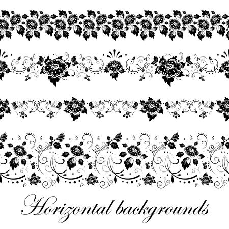 buttercups: Floral seamless border, vector illustration