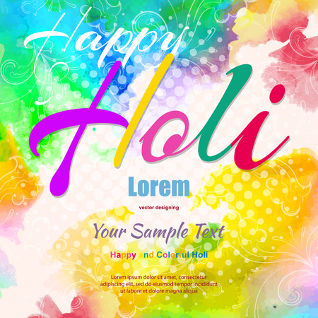 Happy Holi, a spring festival of colors, vector illustration Çizim