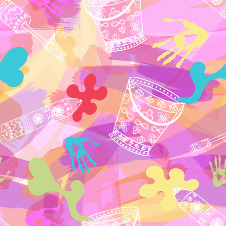 spring festival: Happy Holi, a spring festival of colors, seamless background, vector illustration