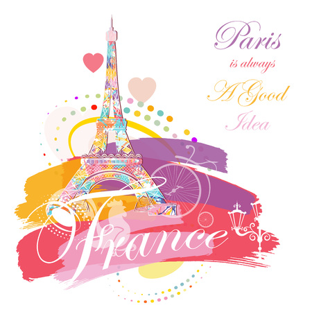 printing house: Romantic background with Eiffel tower, vector illustration Illustration
