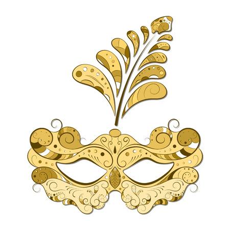 mascara de teatro: Máscara veneciana del carnaval con plumas, fondo abstracto, cartel, ilustración vectorial