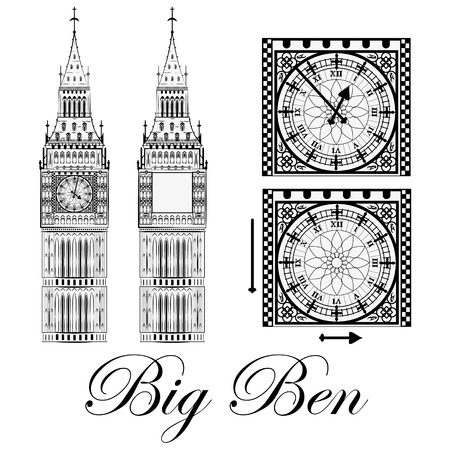 british culture: Big Ben, set, illustration Illustration