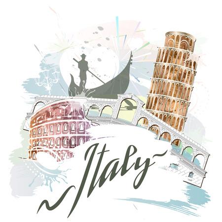 イタリア、レトロなスタイルのパターン、イラストのランドマーク