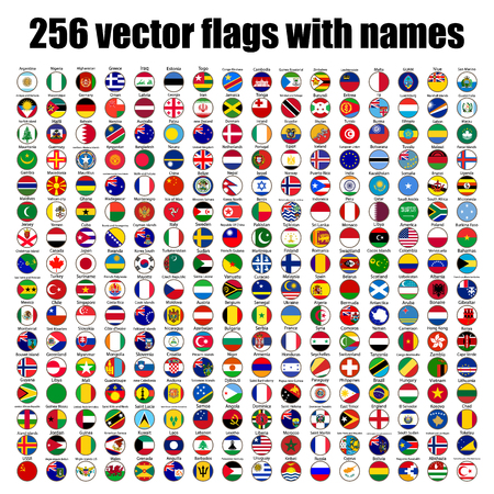 flags of the world, round icons, Lithuania, Luxembourg, Malta, Netherlands, Poland, Portugal, Romania, Slovakia, Slovenia, Finland, France, UK, illustration