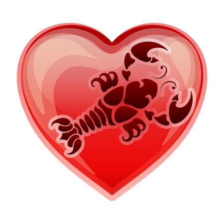 heart sign: zodiac sign Cancer, vector illustration Illustration