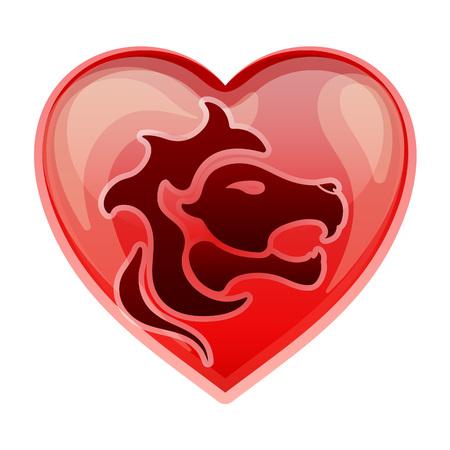 heart sign: zodiac sign Leo, vector illustration Illustration