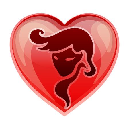 heart sign: zodiac sign Virgo, vector illustration