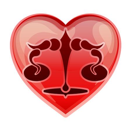 heart sign: zodiac sign Libra, vector illustration Illustration