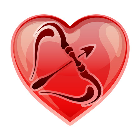 heart sign: zodiac sign Sagittarius, vector illustration Illustration
