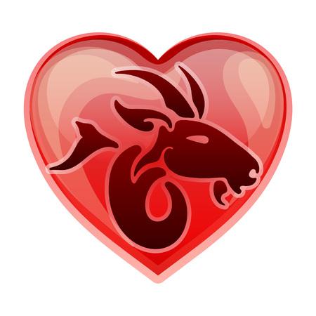 heart sign: zodiac sign Capricorn, vector illustration Illustration