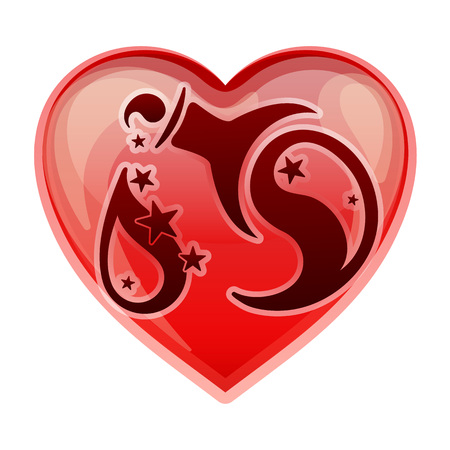 heart sign: zodiac sign Aquarius, vector illustration Illustration