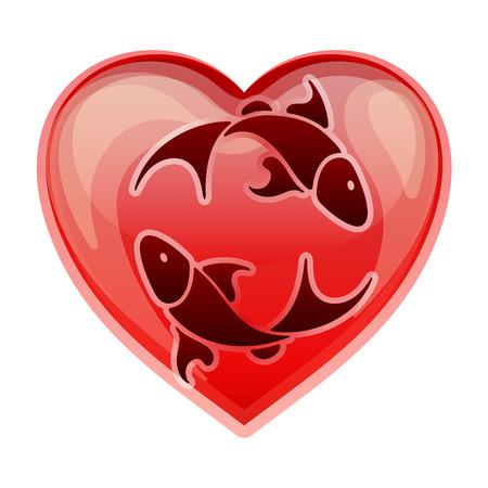 heart sign: zodiac sign Pisces, vector illustration Illustration