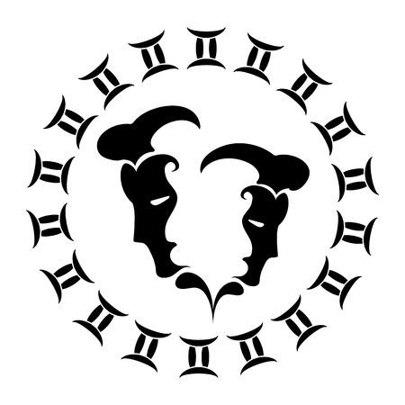 zodiac sign Gemini, vector illustration