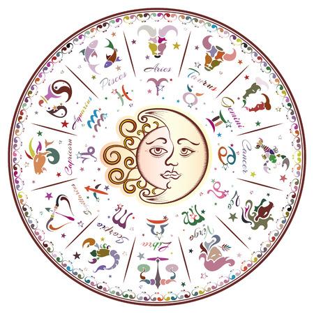 Segni zodiacali, oroscopo, illustrazione vettoriale Vettoriali