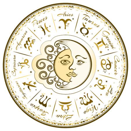 mystique: Zodiac signs, horoscope, vector illustration