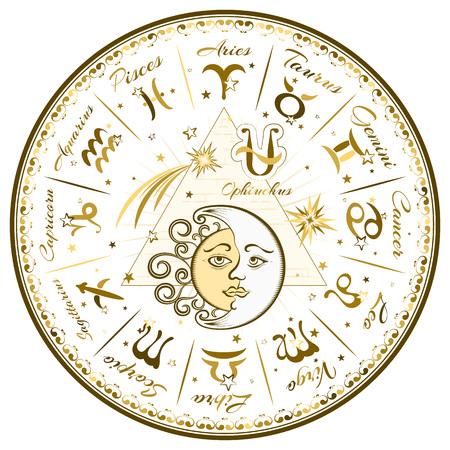 Zodiac signs, horoscope, vector illustration