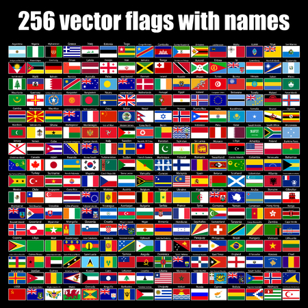 flags of the world, round icons, Lithuania, Luxembourg, Malta, Netherlands, Poland, Portugal, Romania, Slovakia, Slovenia, Finland, France, Republic, UK, vector illustration