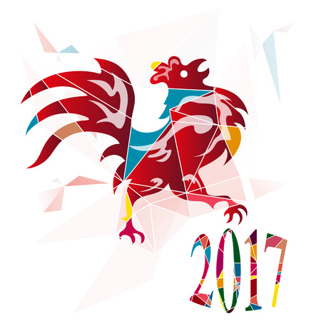happy new years: The year of fire rooster, 2017 new year card, vector illustration Illustration