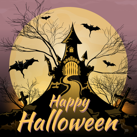 Halloween, castle black against the moon Stock Photo