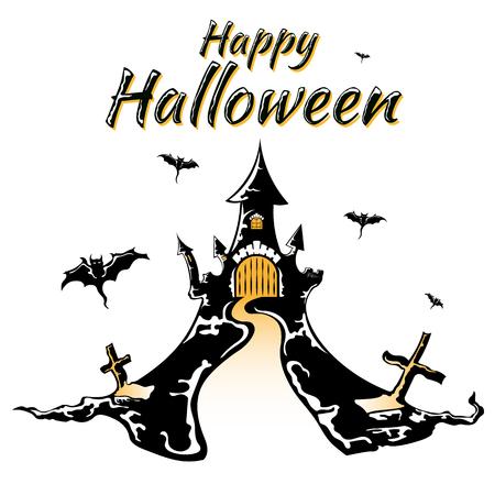 Halloween night, black castle on white background