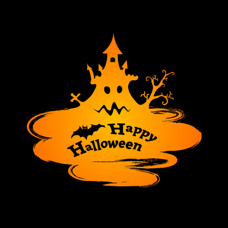 Happy Halloween funny abstract background in grunge style, vector illustration