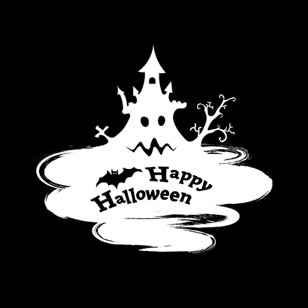 ghost house: Happy Halloween funny abstract background in grunge style, vector illustration