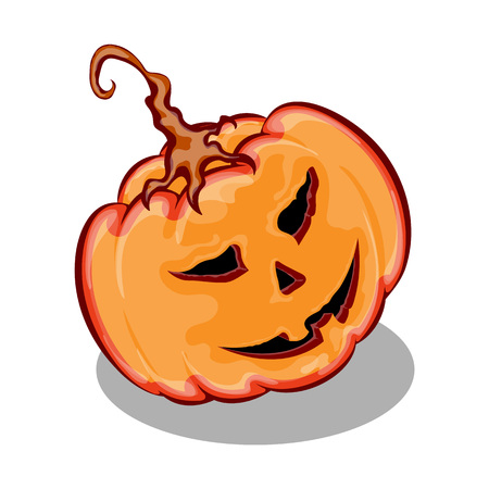 funny face: Halloween pumpkin with funny face expression, isolated on white background, vector illustration Illustration