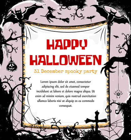 all saints day: Halloween styled frame design with place for text, vector illustration