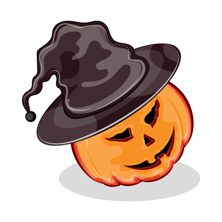 Jack-O-Lantern, Halloween pumpkin hat with funny expression, isolated on white background Stock Photo
