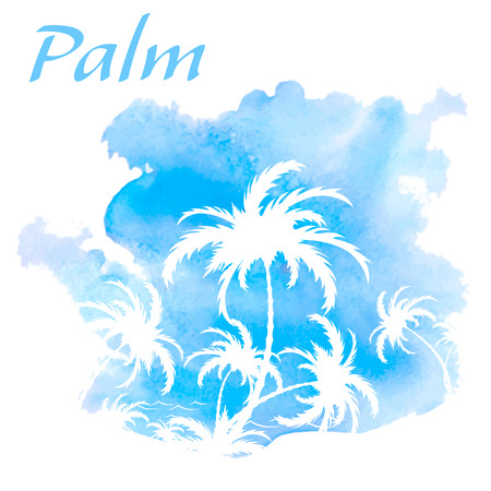 Palm trees, watercolor background