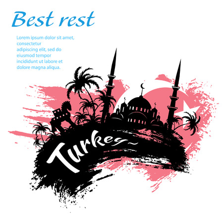 Travel Turkey grunge style design for your business easily editable elements, vector illustration Vettoriali