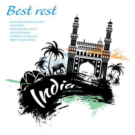 Travel India grunge style design for your business easily editable elements, vector illustration