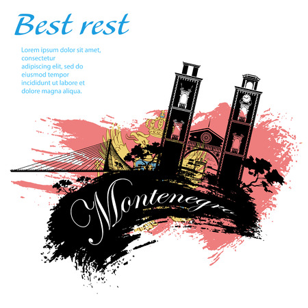 Travel Montenegro grunge style design for your business easily editable elements, vector illustration