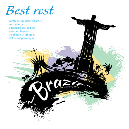 Travel Brazil grunge style design for your business easily editable elements, vector illustration