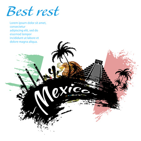 ruins: Travel Mexico grunge style design for your business easily editable elements, vector illustration