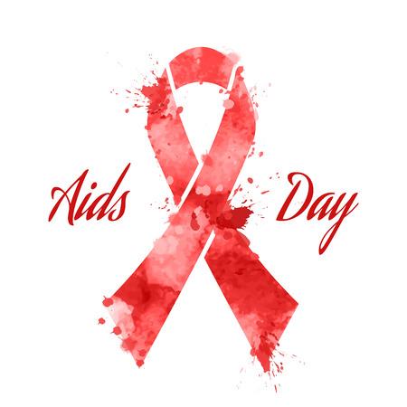 aids virus: Aids day red ribbon grunge icon, vector illustration Illustration