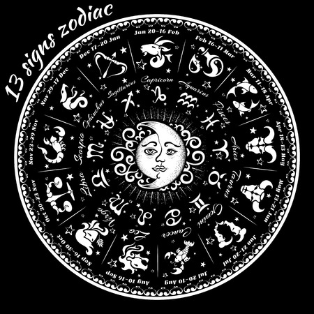 13 signs of the zodiac astrological circle, vector illustration Illustration